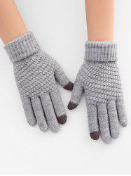 Thick Winter Knitted Solid Telefingers Gloves -