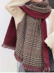 Winter Plaid Houndstooth Fringed Long Scarf -