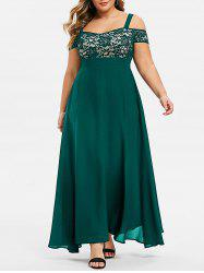 Plus Size Open Shoulder Lace Insert Evening Maxi Dress -