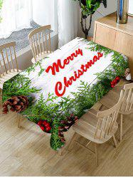 Christmas Branches Greeting Wooden Board Print Waterproof Fabric Tablecloth -