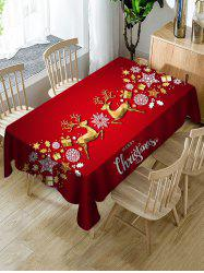 Christmas Elk Balls Stars Greeting Print Waterproof Fabric Tablecloth -