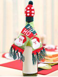 Christmas Decorations Santa Claus Elk Tree Pattern Wine Bottle Hat and Scarf -