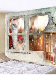 Father Christmas Window Printed Tapestry -