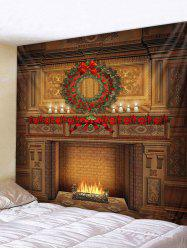 Christmas Wreath Fireplace Printed Tapestry -