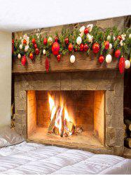 Christmas Ball Fireplace Printed Tapestry -