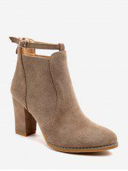 Plain Buckle Strap High Heel Ankle Boots -