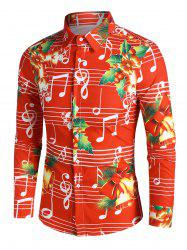 Christmas Bells Music Notes Print Button Up Festival Shirt -