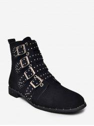 Multi Buckle Studded Ankle Boots -