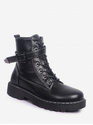 Buckled PU Leather Fleece Cargo Boots -
