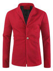 Solid Color Single Button Wool Blend Coat -