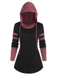Contrast Ribbed Hooded Curved Hem T-shirt -