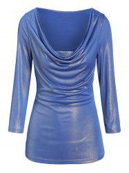Cowl Neck Faux Twinset Glitter T-shirt -