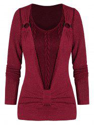 O-ring Ruched Faux Twinset Sweater -