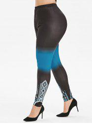 High Waisted Pull On Ombre Printed Plus Size Leggings -