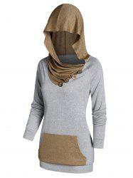 Contrast Kangaroo Pocket Button Ruched Hooded Sweater -