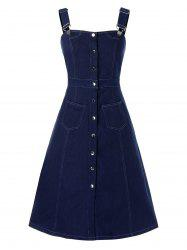 Plus Size Button Front Pocket Pinafore Denim Dress -