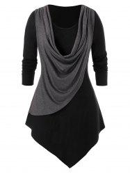 Plus Size Splicing Long Sleeve Tee -