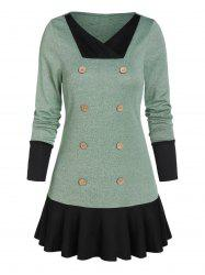V Neck Button Skirted Sweater -
