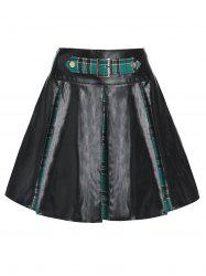 Plaid Print Lace-up Pleated Faux Leather Skirt -