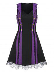 Mock Button Lace Trim Contrast Sleeveless Dress -