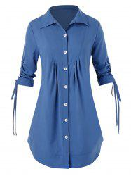 Bouton Plus Size Up Shirt - Bleu de Soie 5X