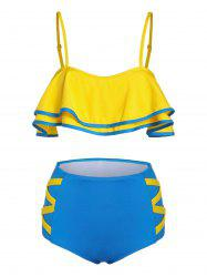 Two Tone Tie Back Tankini Swimsuit -