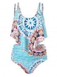 Plus Size Print Cami Tankini Swimsuit -