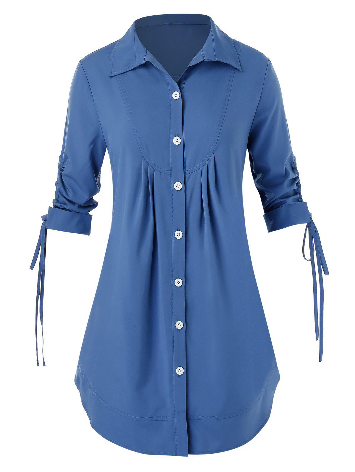 Bouton Plus Size Up Shirt Bleu de Soie 5X
