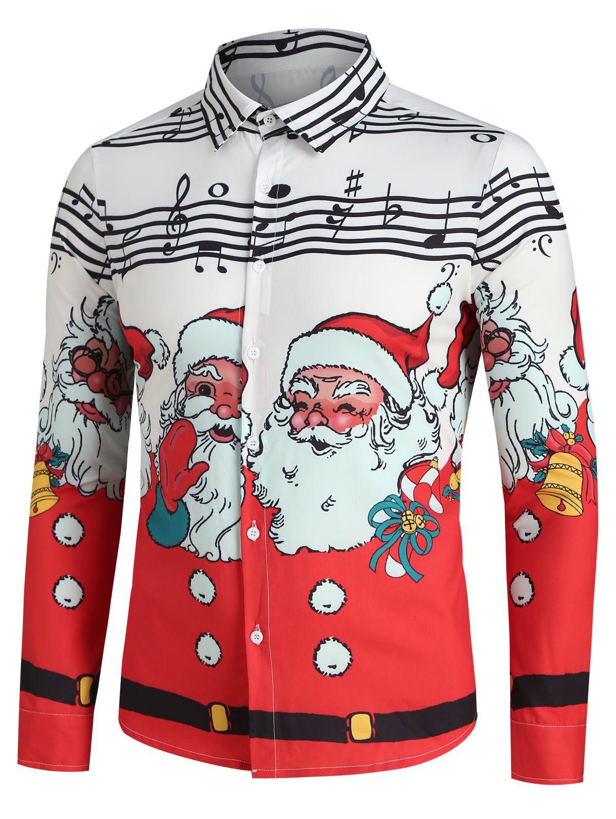 Latest Christmas Santa Claus and Music Notes Print Button Up Festival Shirt