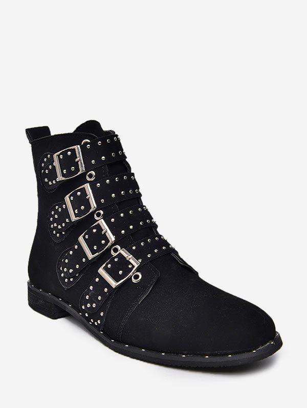 Shop Multi Buckle Studded Ankle Boots