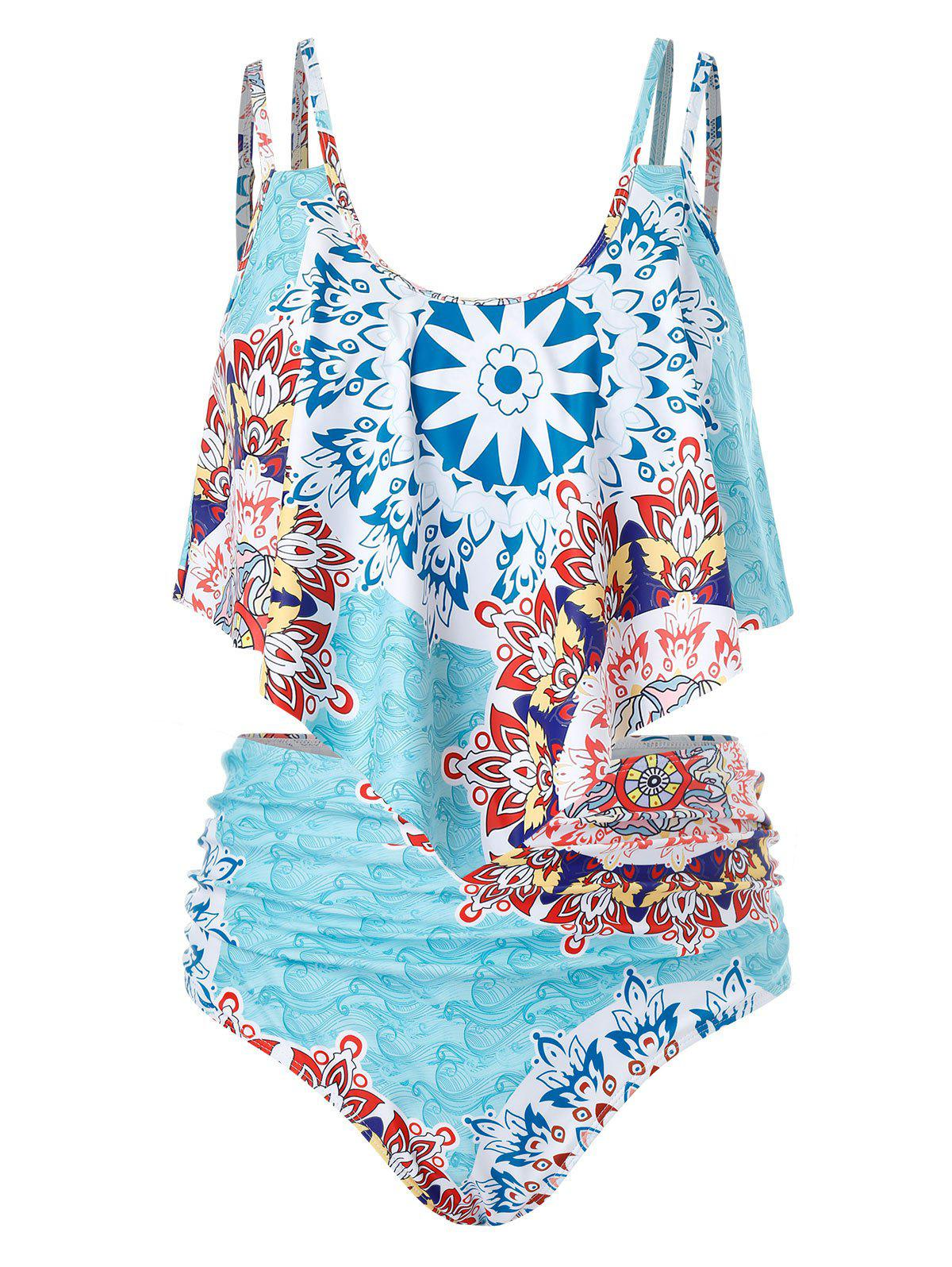 New Plus Size Print Cami Tankini Swimsuit