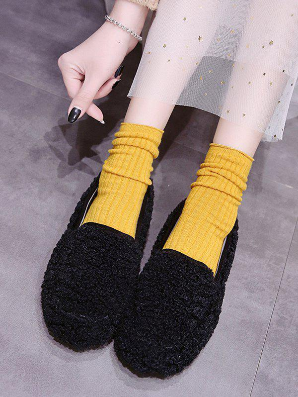 Online Casual Solid Color Fuzzy Slip On Shoes