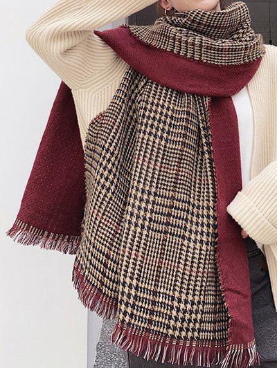 Sale Winter Plaid Houndstooth Fringed Long Scarf