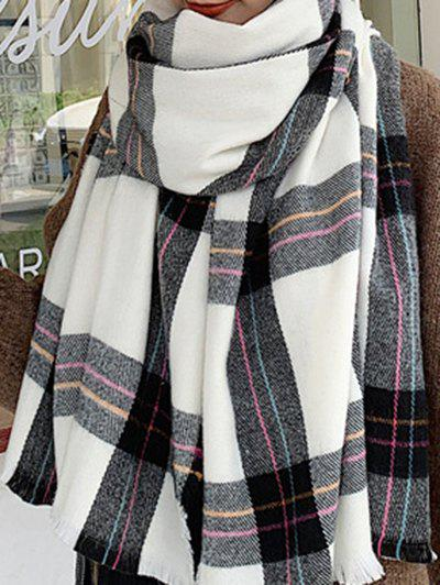 Discount Winter Plaid Pattern Long Faux Cashmere Scarf