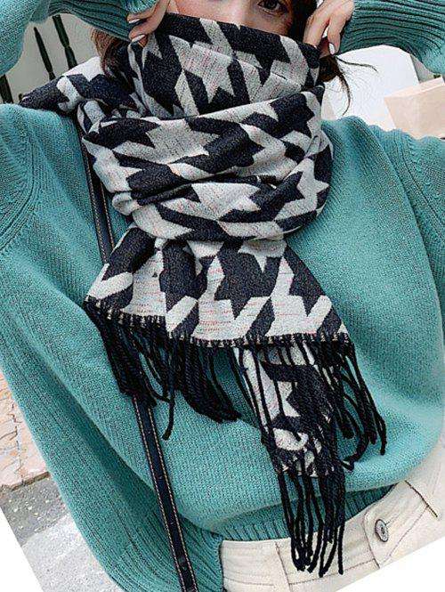Cheap Plaid Houndstooth Long Thick Fringe Scarf