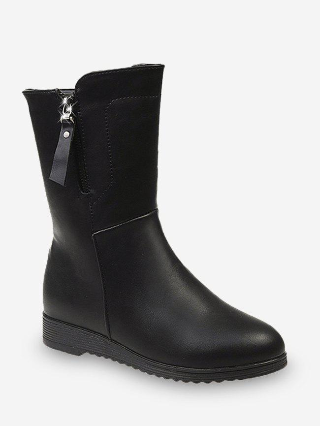 Buy Simple PU Leather Mid Calf Boots