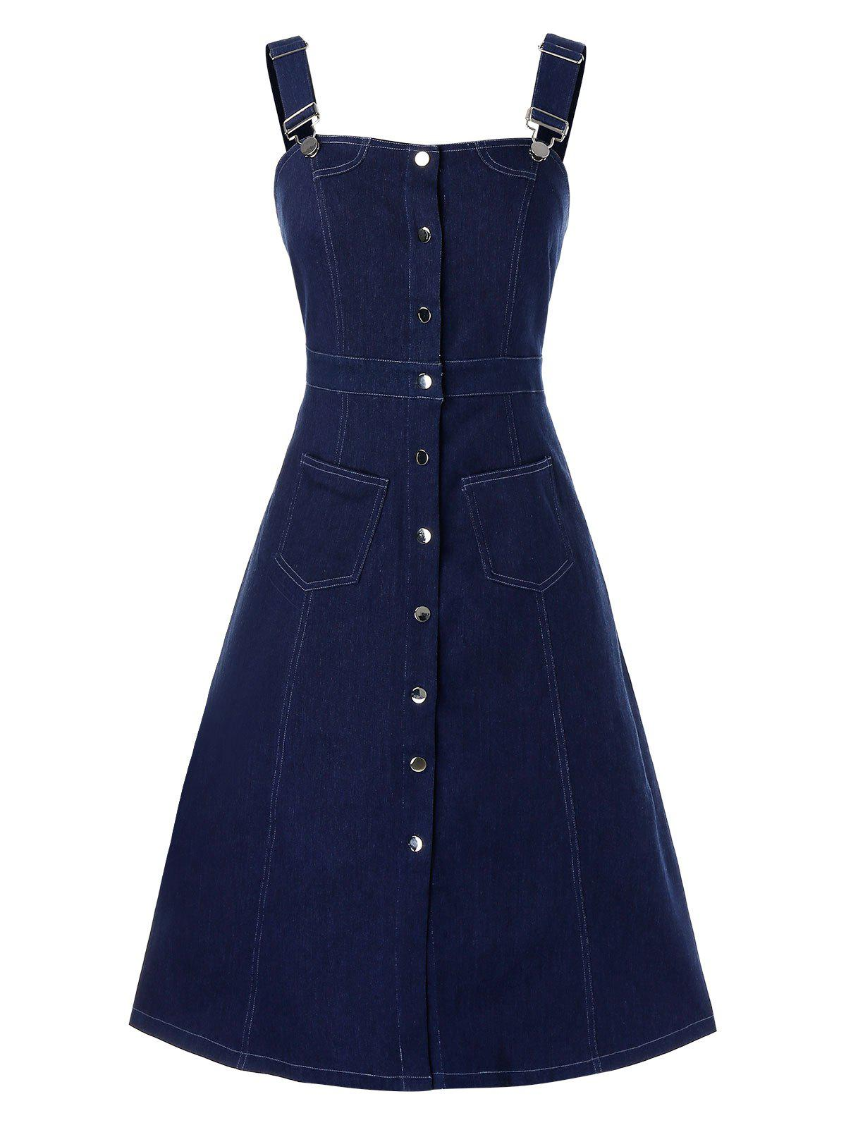 Shops Plus Size Button Front Pocket Pinafore Denim Dress