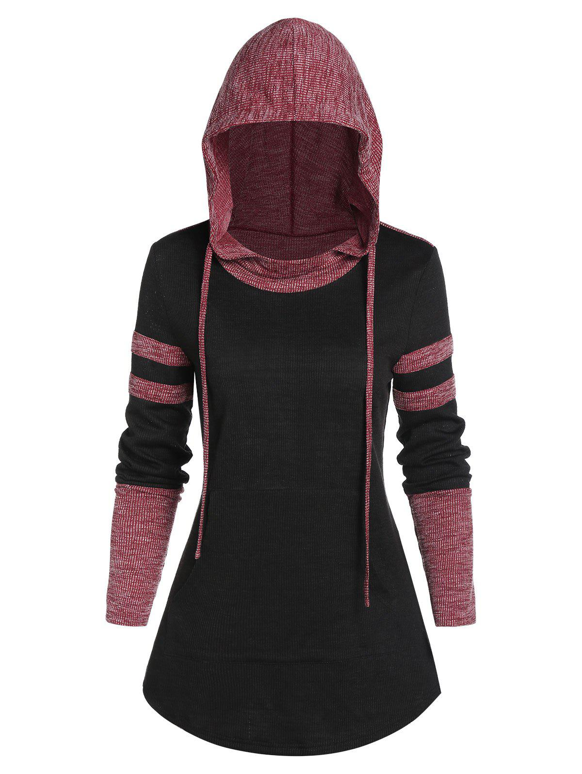 Best Contrast Ribbed Hooded Curved Hem T-shirt