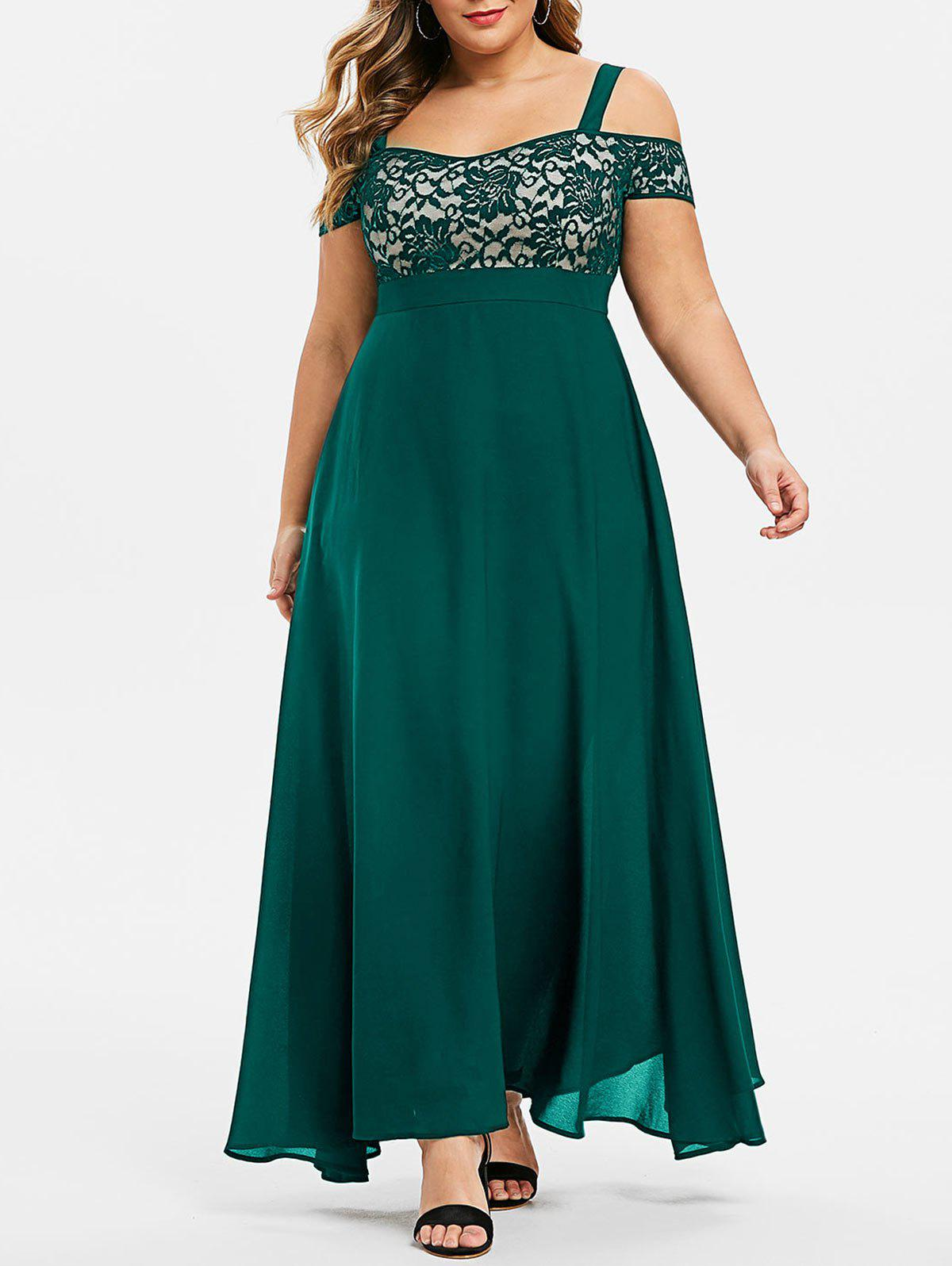 Discount Plus Size Open Shoulder Lace Insert Evening Maxi Dress
