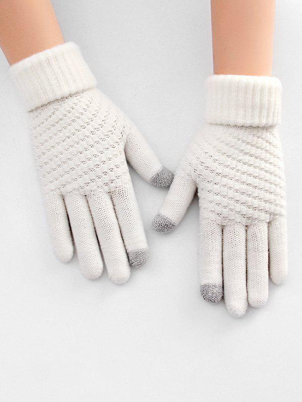 Store Thick Winter Knitted Solid Telefingers Gloves