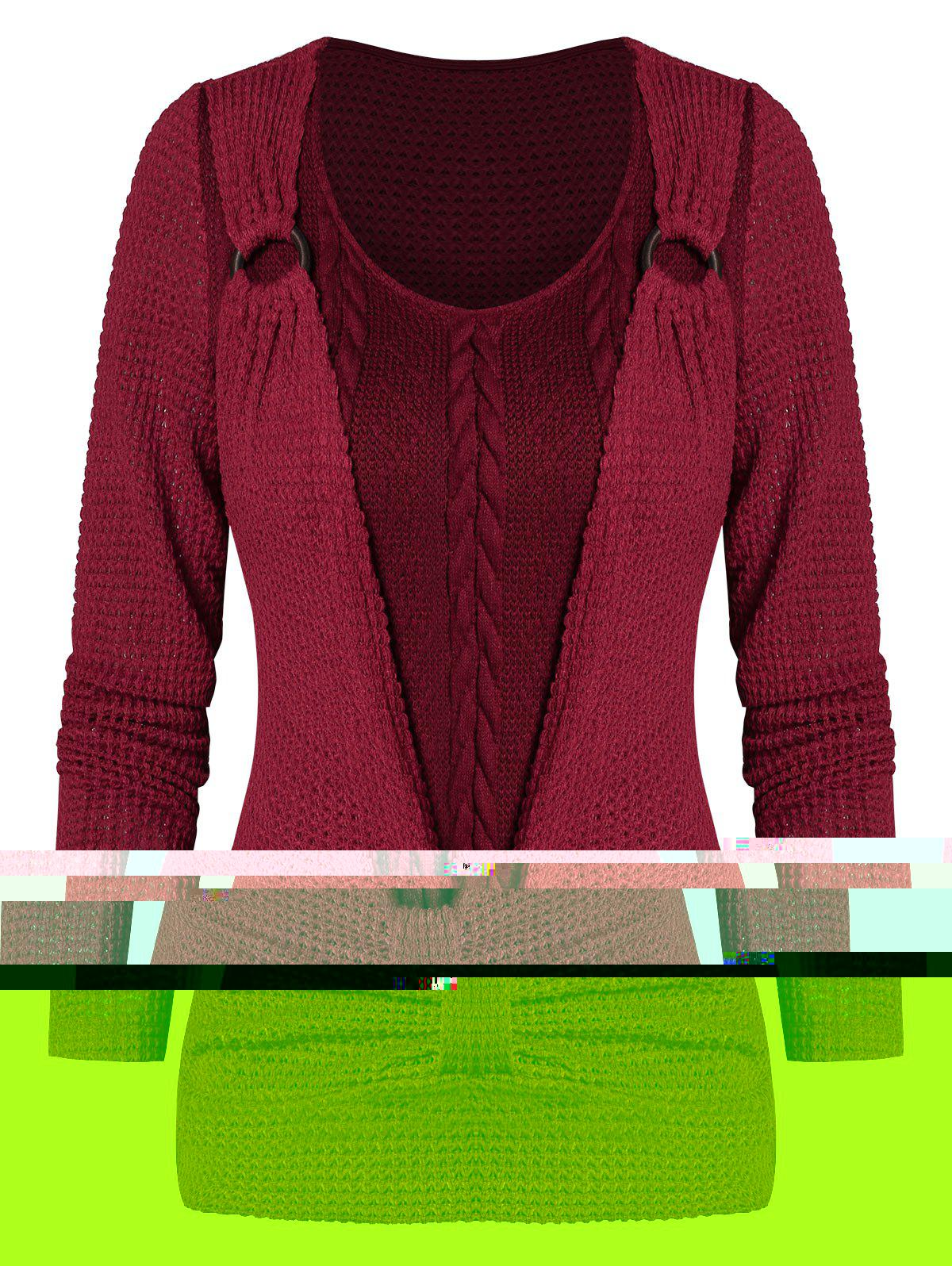 Shop O-ring Ruched Faux Twinset Sweater