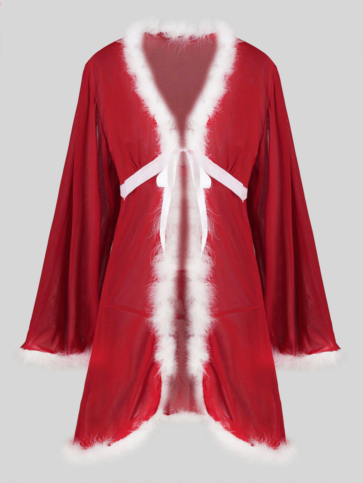 Discount Christmas Tie Front Fuzzy T Back Sheer Mesh Plus Size Robe