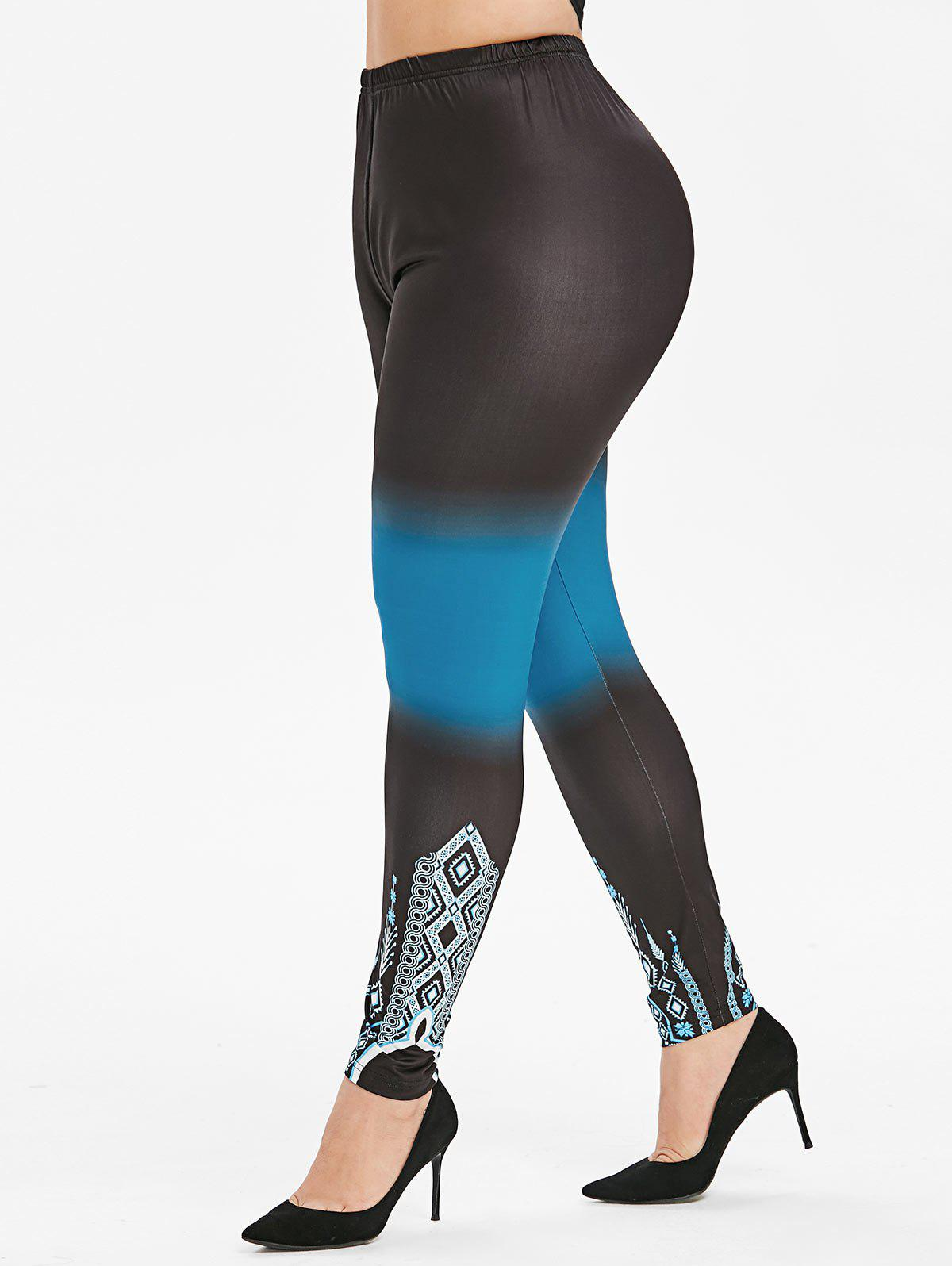 Taille haute Pull On Ombre Printed Leggings Plus Size
