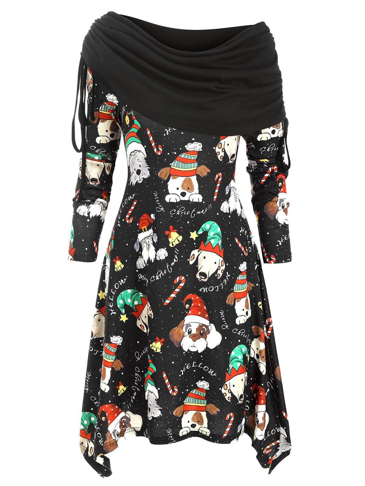 Fancy Christmas Dog Print Asymmetrical Cinched Knitted Dress