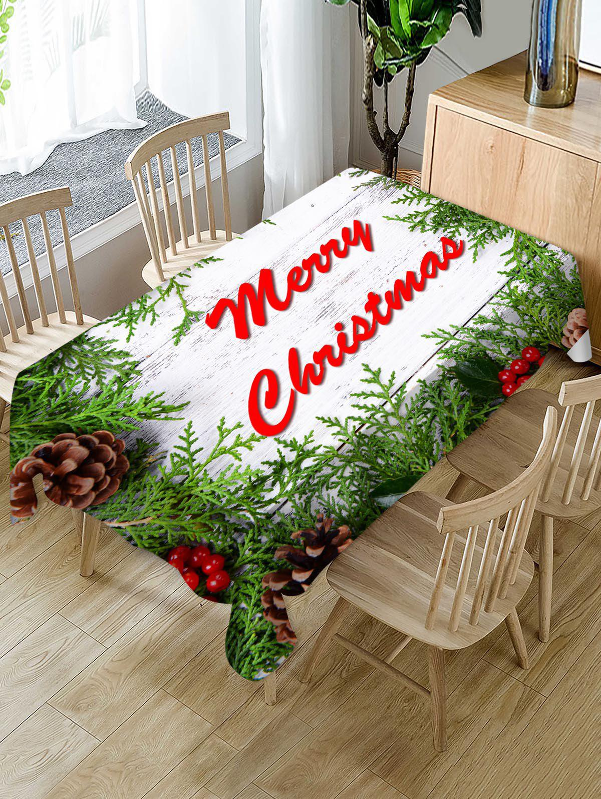 Affordable Christmas Branches Greeting Wooden Board Print Waterproof Fabric Tablecloth