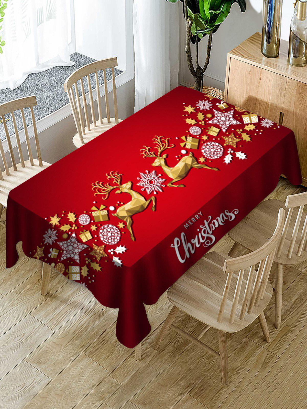 Hot Christmas Elk Balls Stars Greeting Print Waterproof Fabric Tablecloth