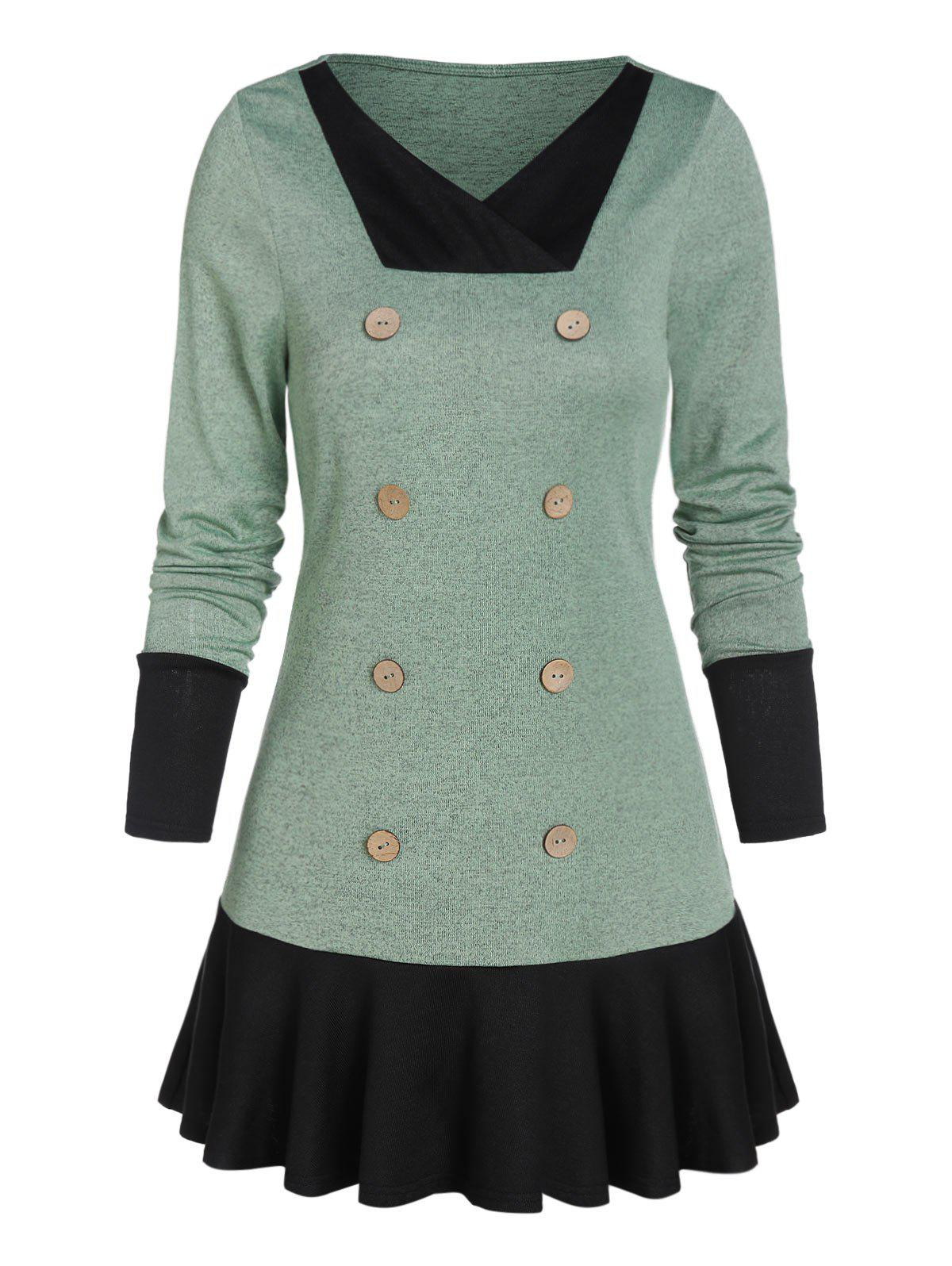 Cheap V Neck Button Skirted Sweater