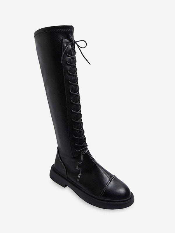 Discount Lace Up PU Knight Knee High Boots