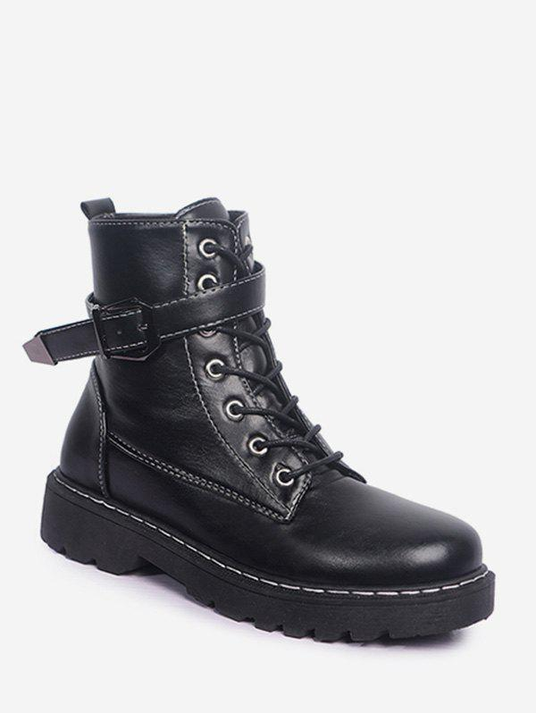 New Buckled PU Leather Fleece Cargo Boots