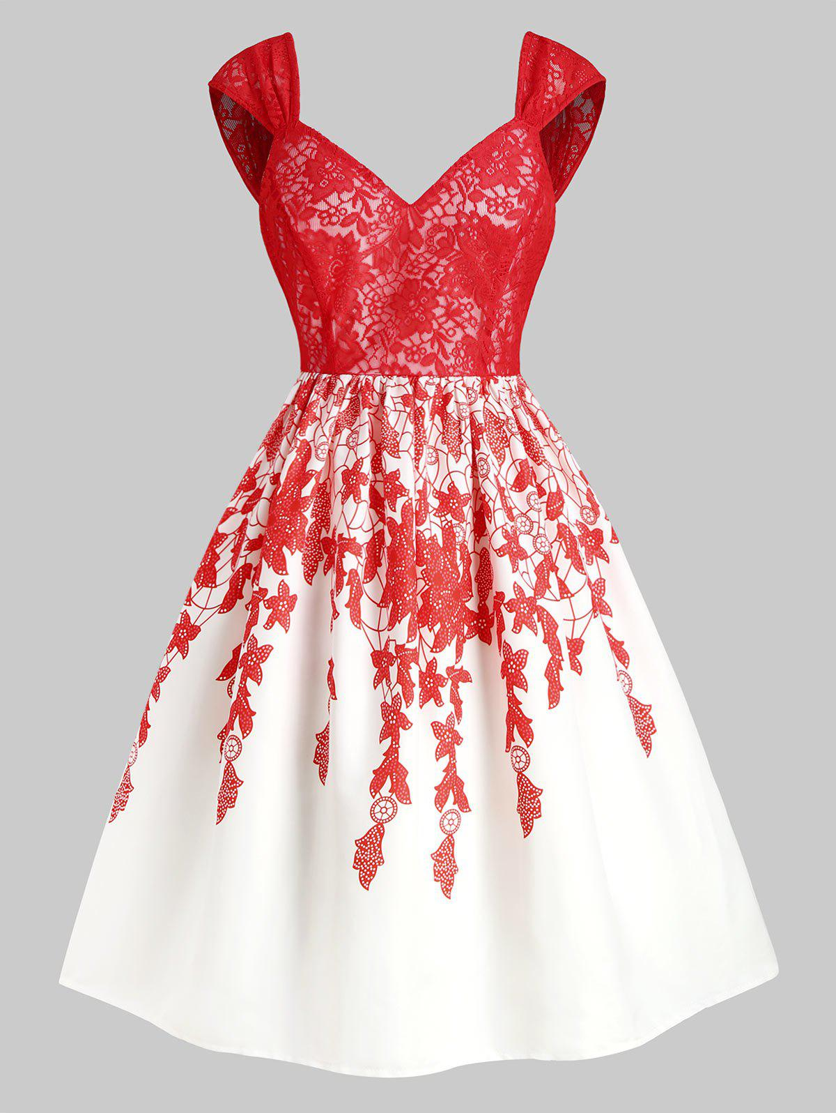New Floral Print Lace Panel Sweetheart Party Dress